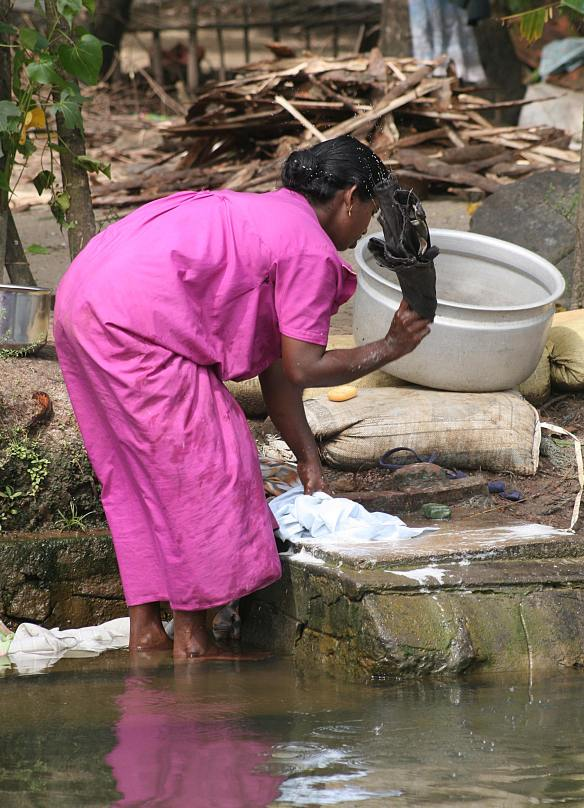 washing clothes in the Backwaters